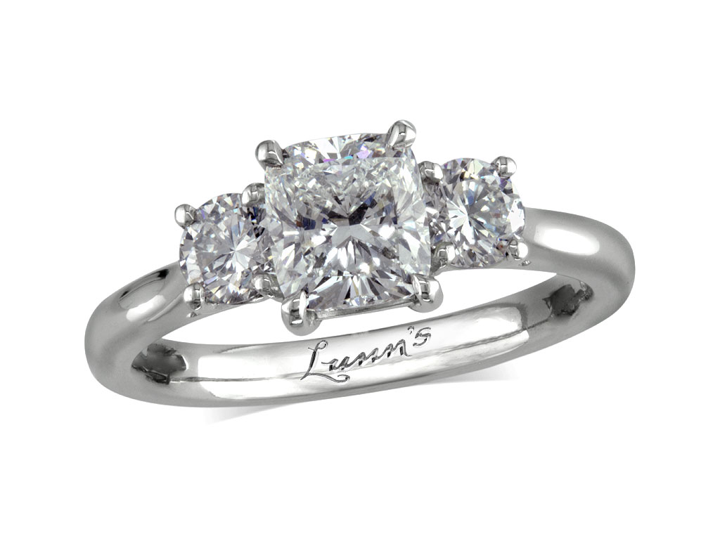5ca6ee22fa13f1 1.01ct centre | Cushion | G | Three stone diamond ring | Victoria ...