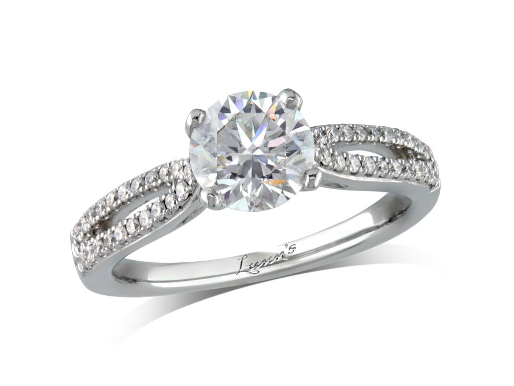 Centre brilliant h diamond shoulder ring for Lindenwold fine jewelers jewelry showroom price
