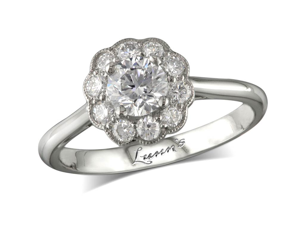 Centre brilliant g cluster diamond ring for Lindenwold fine jewelers jewelry showroom price