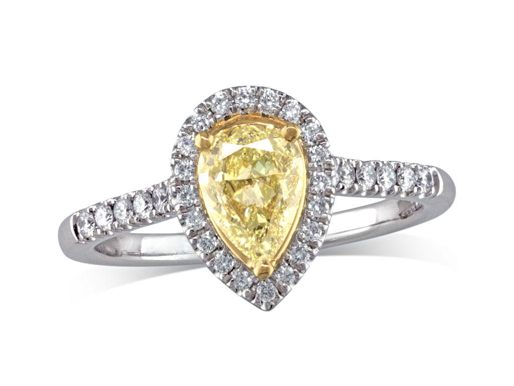 0 75ct Centre Pear Fancy Yellow Cluster Diamond Ring