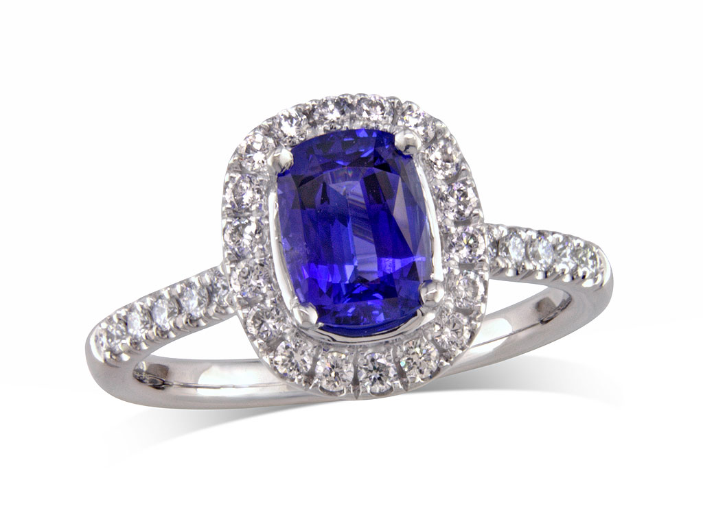 A 1.21ct centre, Cushion, Sapphire, Exceptional Colour Sapphire Collectio. You can buy online or reserve online and view in store at , Queens Arcade, Belfast