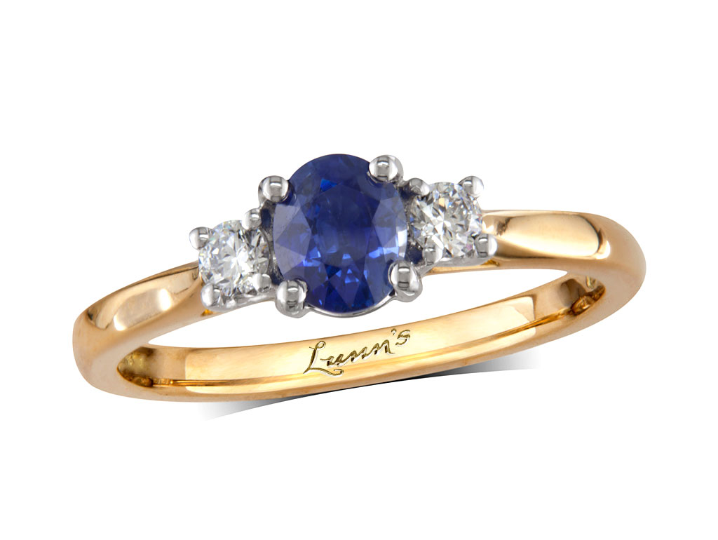 A 0.55ct centre, Oval, Sapphire, Sapphire & Diamond Ring. You can buy online or reserve online and view in store at , Queens Arcade, Belfast