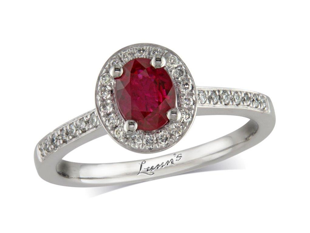 A 0.61ct centre, Oval, Ruby, Ruby & Diamond Ring. You can buy online or reserve online and view in store at , Queens Arcade, Belfast