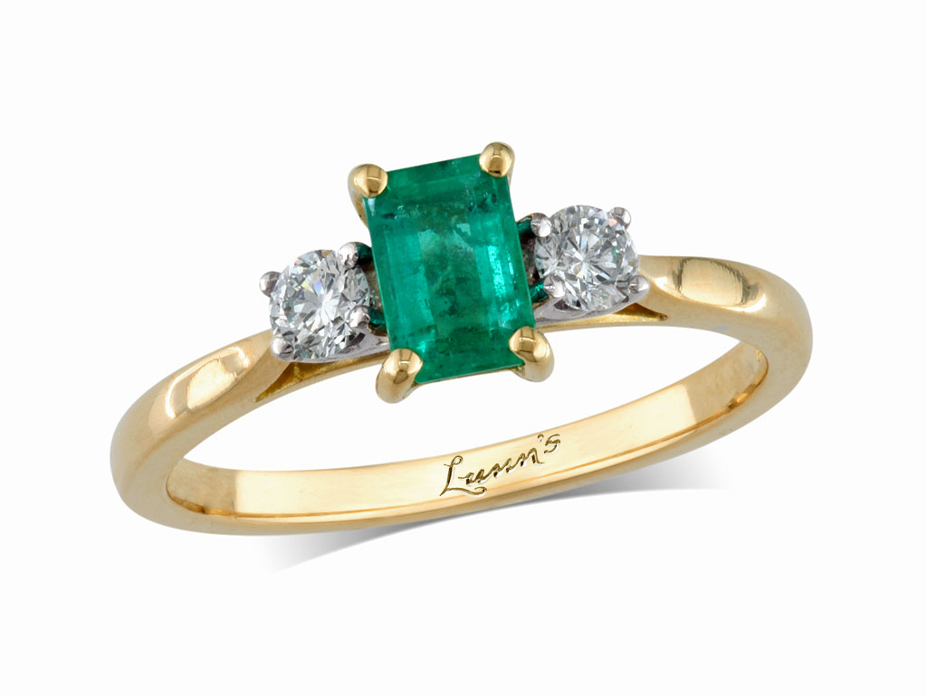 A 0.44ct centre, Emerald, Emerald, Emerald & Diamond Ring. You can buy online or reserve online and view in store at , Queens Arcade, Belfast