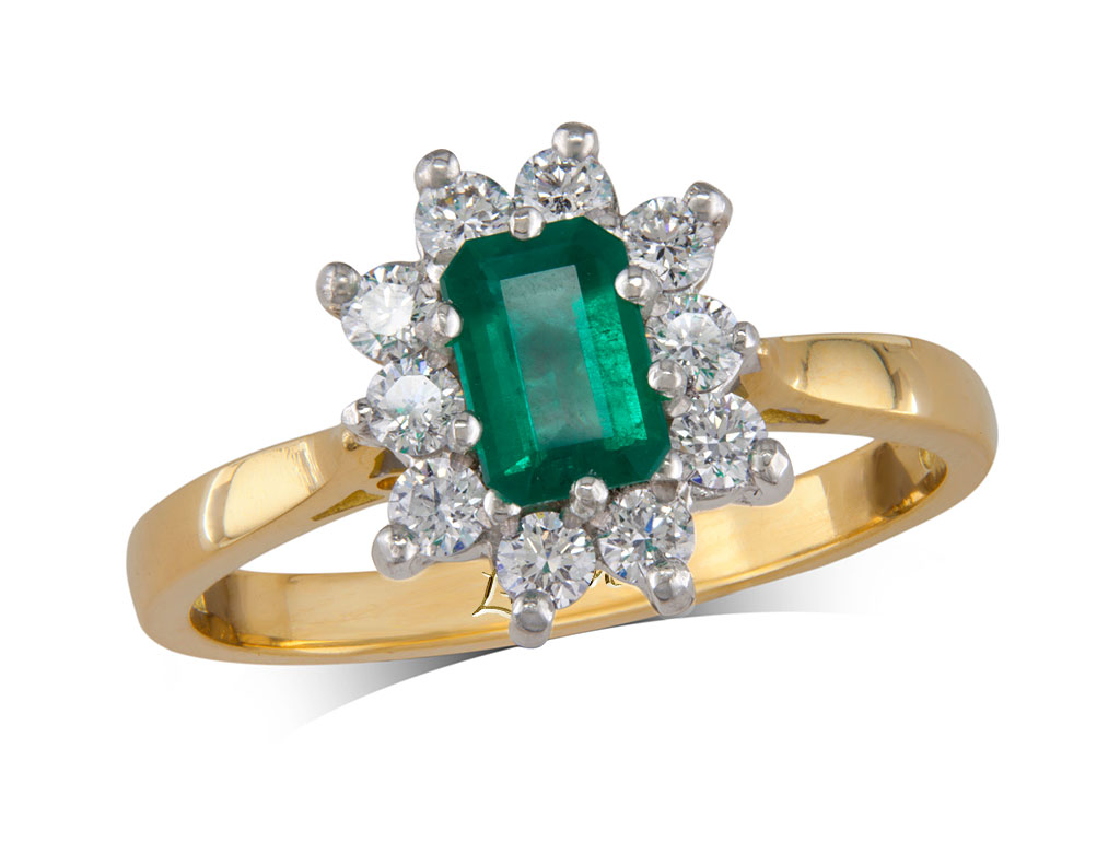 A 0.47ct centre, Emerald, Emerald, Emerald & Diamond Ring. You can buy online or reserve online and view in store at , Queens Arcade, Belfast