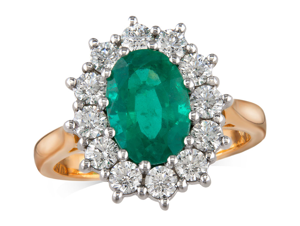 A 1.84ct centre, Oval, Emerald, Emerald & Diamond Ring. You can buy online or reserve online and view in store at , Londonderry