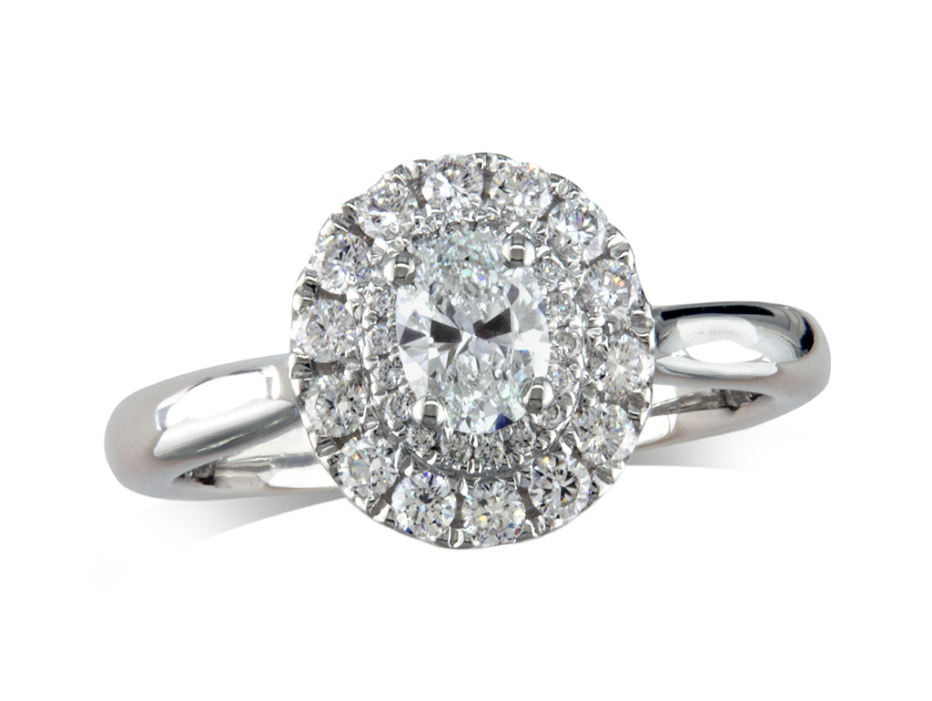 A 0.37ct centre, Oval, E, Cluster diamond ring. You can buy online or reserve online and view in store at , Londonderry