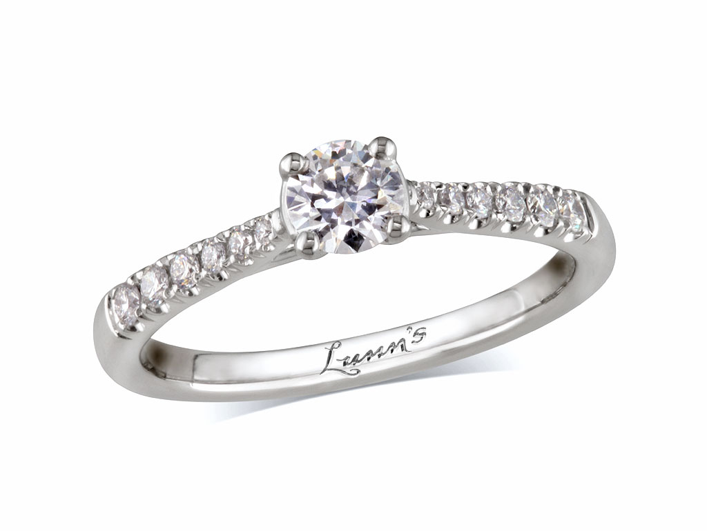 A 0.30ct centre, Brilliant, F, Diamond shoulder ring. You can buy online or reserve online and view in store at , Londonderry