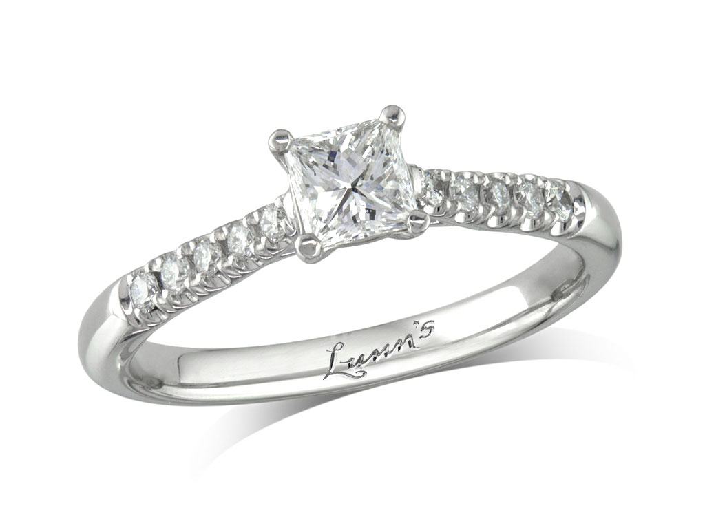 Centre princess e diamond shoulder ring for Lindenwold fine jewelers jewelry showroom price