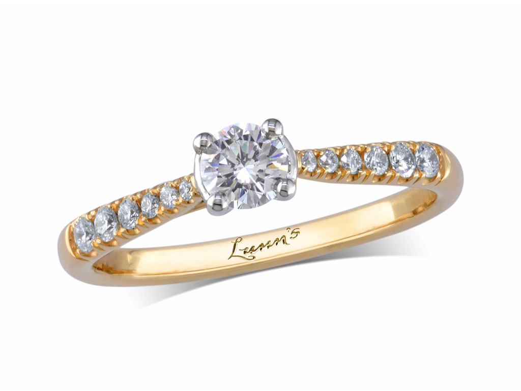 A 0.28ct centre, Brilliant, D, Diamond shoulder ring. You can buy online or reserve online and view in store at , Queens Arcade, Belfast