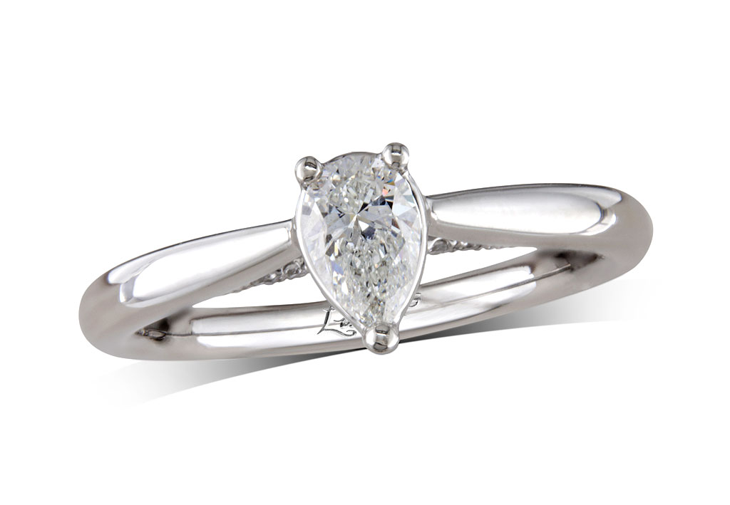 A 0.37ct centre, Pear, D, Single stone diamond ring. You can buy online or reserve online and view in store at , Queens Arcade, Belfast