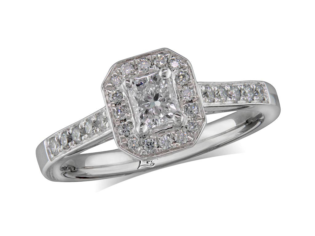 Centre radiant e cluster diamond ring for Lindenwold fine jewelers jewelry showroom price