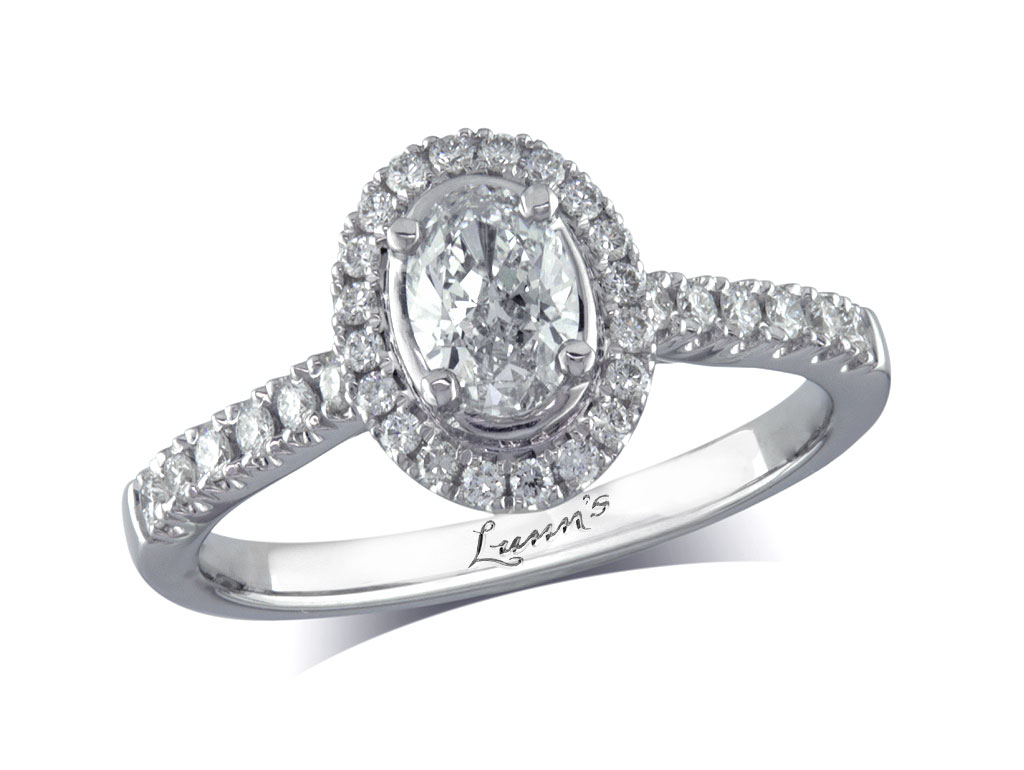 Centre oval e cluster diamond ring victoria for Lindenwold fine jewelers jewelry showroom price