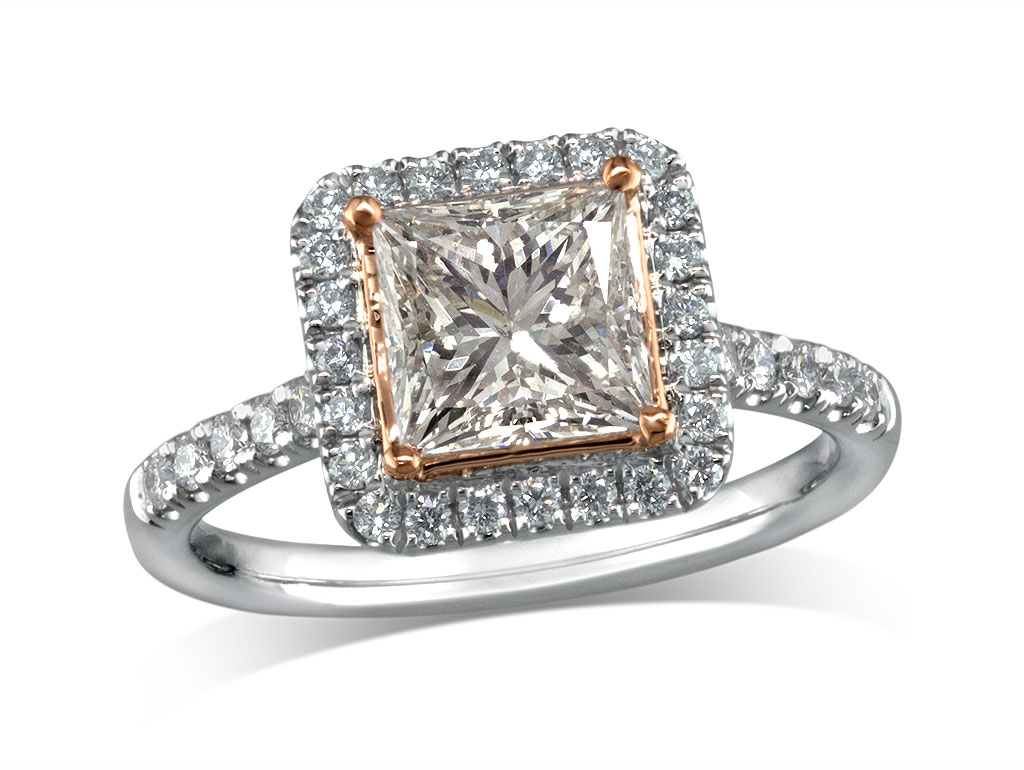 Centre princess k cluster diamond ring for Lindenwold fine jewelers jewelry showroom price