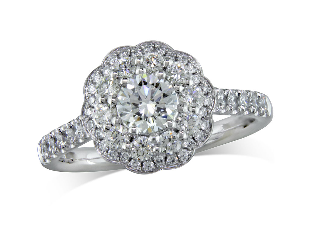 Centre brilliant d cluster diamond ring for Lindenwold fine jewelers jewelry showroom price