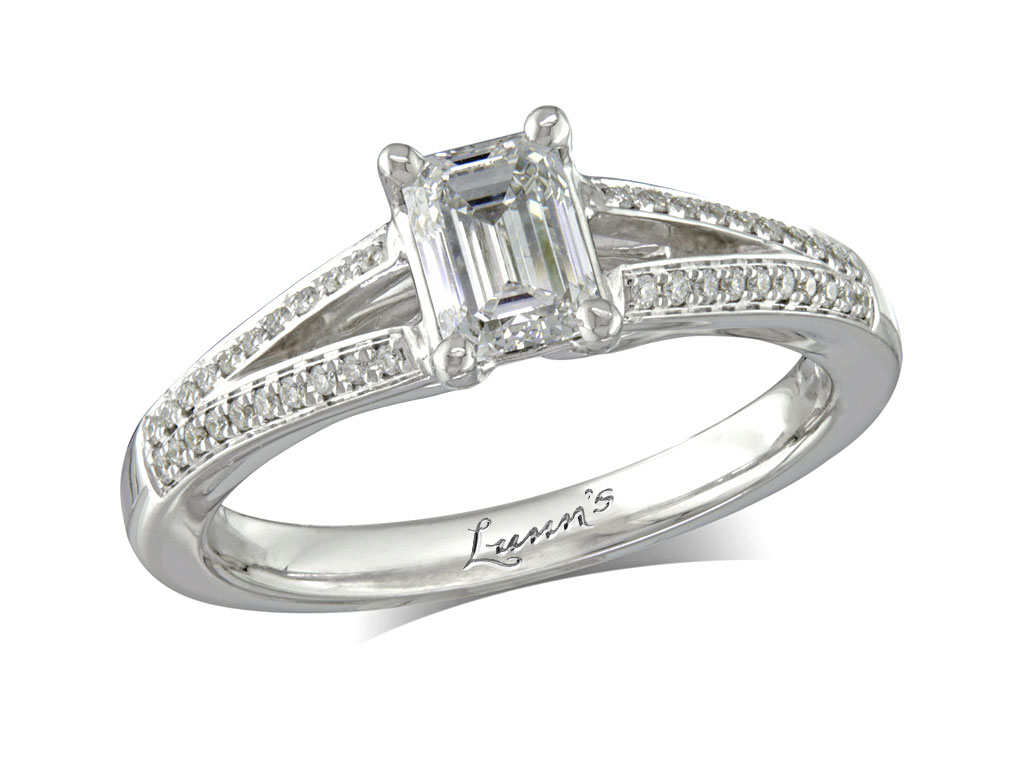 Centre emerald e diamond shoulder ring for Lindenwold fine jewelers jewelry showroom price