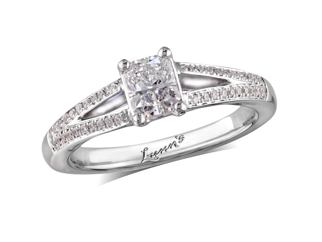 Centre radiant h diamond shoulder ring for Lindenwold fine jewelers jewelry showroom price