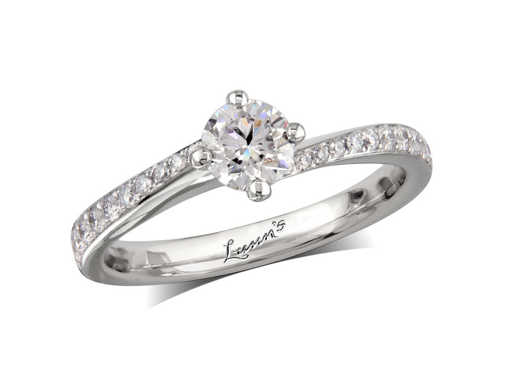 0 50ct centre Brilliant F Diamond shoulder ring