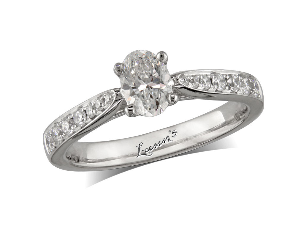 Centre oval h diamond shoulder ring queens for Lindenwold fine jewelers jewelry showroom price