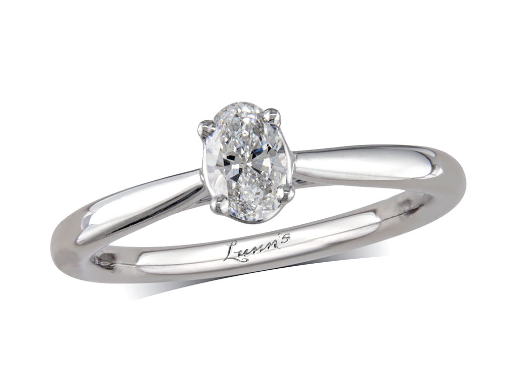 A 0.33ct, Oval, H, Single stone diamond ring. You can buy online or reserve online and view in store at , Queens Arcade, Belfast