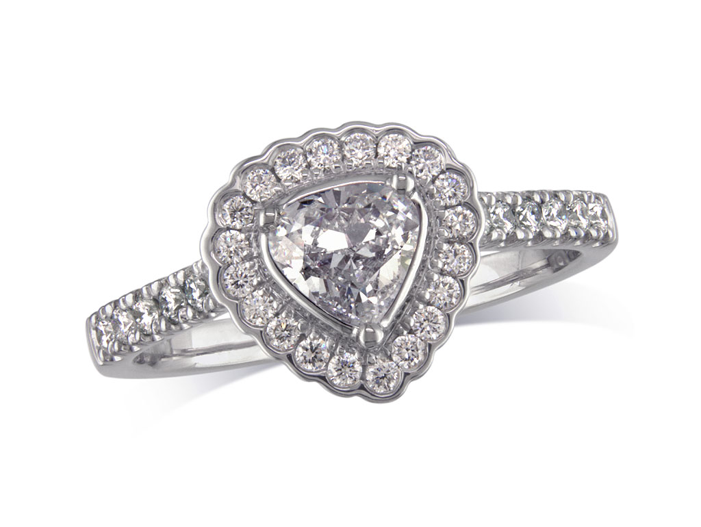 Centre pear g cluster diamond ring queens for Lindenwold fine jewelers jewelry showroom price