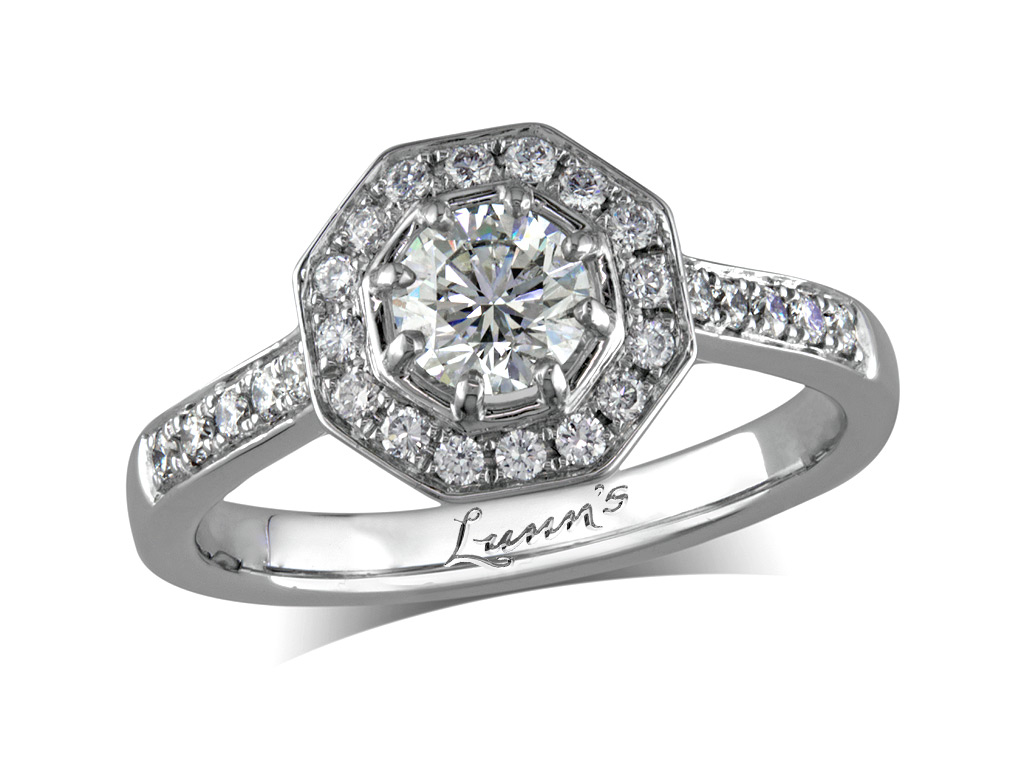 0 51ct centre Brilliant F Cluster diamond ring