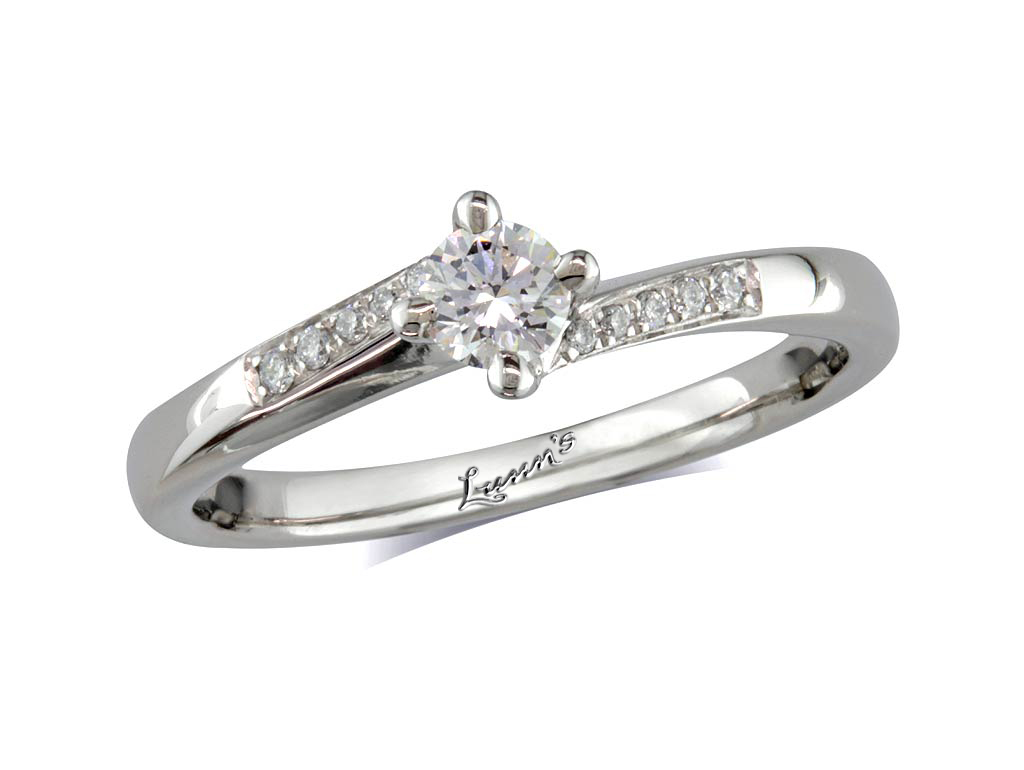 A 0.20ct centre, Brilliant, E, Diamond shoulder ring. You can buy online or reserve online and view in store at , Londonderry