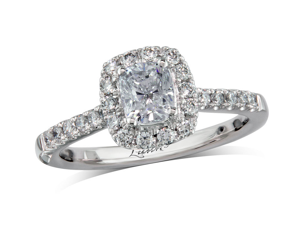 Centre cushion g cluster diamond ring for Lindenwold fine jewelers jewelry showroom price