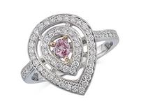 Platinum set cluster ring, with a certificated Natural Fancy Intense Pink centre diamond in a three claw setting, with a surrounding diamond set bezel and diamond set shoulders. Total cluster diamond weight: 0.75ct.