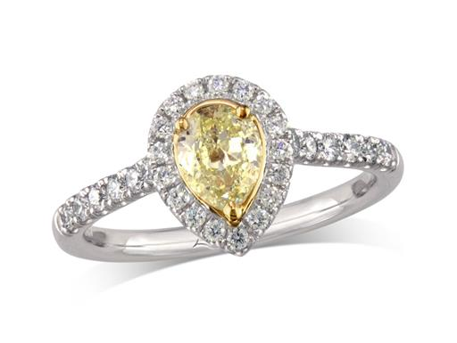 Platinum set diamond cluster engagement ring, with a certificated pear cut Natural Fancy Light Yellow diamond centre in a three claw yellow gold setting, with a surrounding diamond set bezel and diamond set shoulders. Perfect fit with a wedding ring. Total cluster diamond weight: 0.79ct.