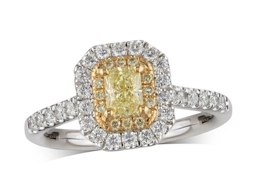 Platinum set diamond cluster engagement ring, with a certificated light yellow radiant cut diamond centre in a four claw setting, with a surrounding 18ct yellow gold diamond set bezel of yellow diamonds and an outer row of diamonds and diamond set shoulders. Total cluster diamond weight: 0.88ct.