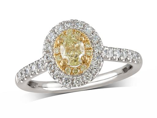 Platinum diamond cluster engagement ring, with a certificated oval cut Fancy Light Yellow Diamond centre in a four claw setting, with a surrounding 18ct yellow gold bezel set with yellow diamonds and an outer row of diamonds and diamond set shoulders. Total cluster diamond weight: 0.85ct.