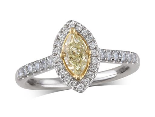 Platinum cluster diamond engagement ring, with a certificated marquise cut W-X Light Yellow diamond centre in a four claw yellow gold setting, with a surrounding diamond set bezel and diamond set shoulders. Perfect fit with a wedding ring. Total cluster diamond weight: 0.78ct.