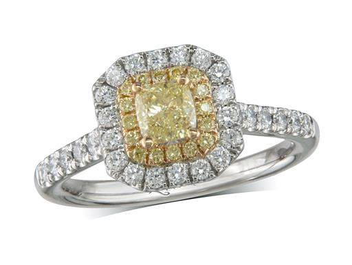 Platinum set diamond cluster engagement ring, with a certificated Natural Fancy Yellow radiant cut diamond centre in a four claw setting, with a surrounding 18ct yellow gold diamond set bezel of yellow diamonds and an outer row of diamonds and diamond set shoulders. Total cluster diamond weight: 0.92ct.