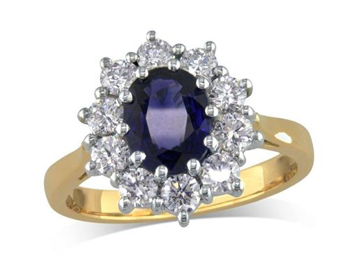 18 carat yellow gold cluster ring, with an oval cut sapphire centre weighing 1.23ct, with 10 diamonds surrounding. Total diamond weight: 0.80ct.