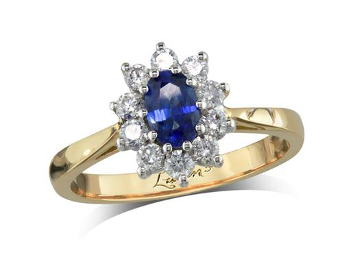 18 carat yellow gold cluster ring, with an oval cut sapphire centre weighing 0.57ct, with 10 diamonds surrounding. Total diamond weight: 0.36ct.