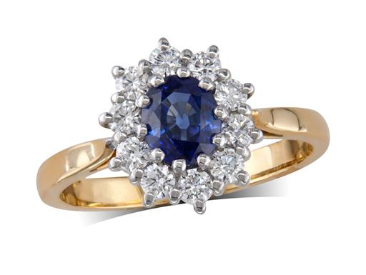 18 carat yellow gold cluster ring, with an oval cut sapphire centre weighing 0.90ct, surrounded by 10 brilliant cut diamonds. Total cluster diamond weight: 0.42ct.