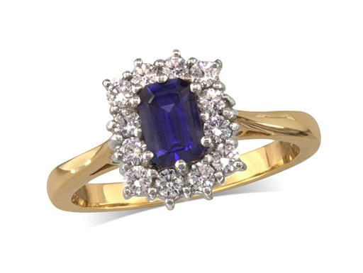 18 carat yellow gold cluster ring, with an emerald cut sapphire centre weighing 0.78ct, surrounded by 12 brilliant cut diamonds. Total cluster diamond weight: 0.40ct.