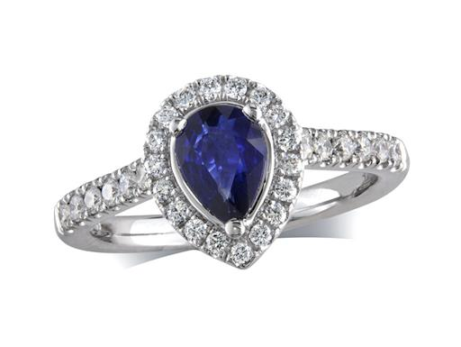 Platinum ring, with a pear cut sapphire centre weighing 0.76ct, with a surrounding diamond set bezel and diamond set shoulders. Total diamond weight is 0.37ct.