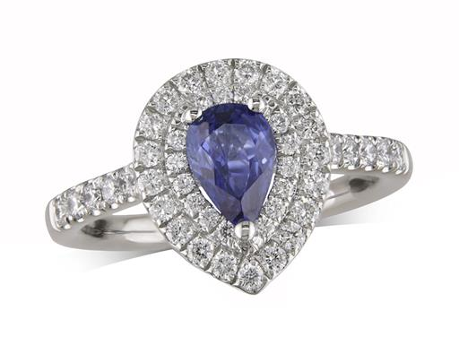 Platinum ring, with a pear cut sapphire centre weighing 0.79ct, with a surrounding double row diamond set bezel and diamond set shoulders. Total diamond weight is 0.56ct.