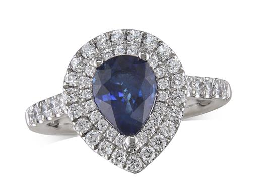 Platinum ring, with a pear cut sapphire centre weighing 1.69ct, with a surrounding double row diamond set bezel and diamond set shoulders. Total diamond weight is 0.60ct.