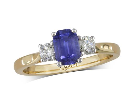 18 carat yellow gold three stone ring, with an emerald cut sapphire centre weighing 0.78ct, and one brilliant cut diamond on each shoulder. Total diamond weight: 0.26ct.