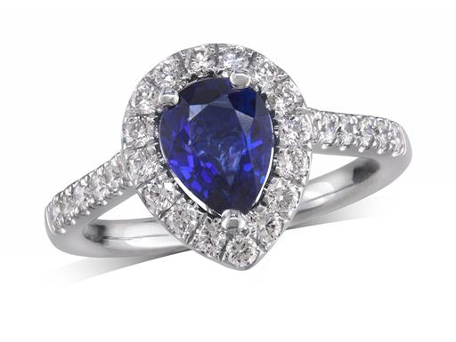 Platinum cluster ring, with a pear cut sapphire centre weighing 1.22ct, with a surrounding diamond set bezel and diamond set shoulders. Total diamond weight is 0.58ct.