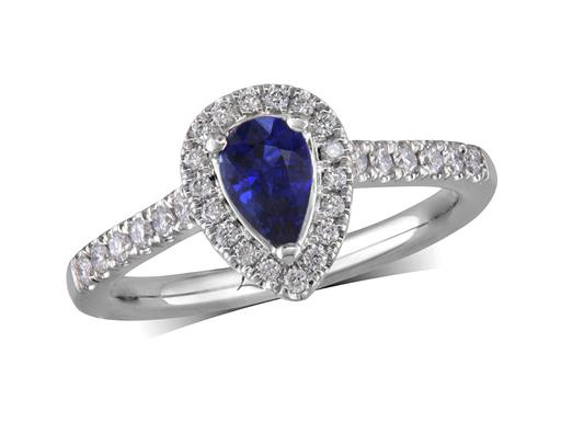 Platinum cluster ring, with a pear cut sapphire centre weighing 0.61ct, with a surrounding diamond set bezel and diamond set shoulders. Total diamond weight is 0.27ct.