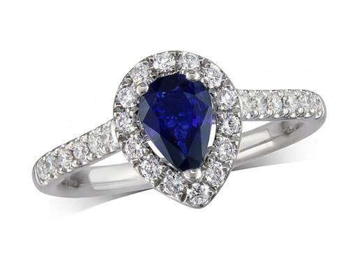 Platinum ring, with a pear cut sapphire centre weighing 0.62ct, with a surrounding diamond set bezel and diamond set shoulders. Total diamond weight is 0.39ct.
