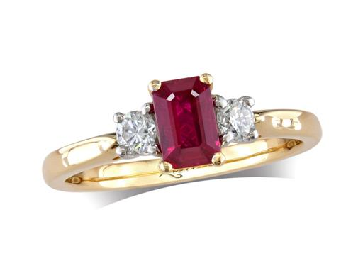 18 carat yellow gold three stone ring, with a step cut ruby centre weighing 0.60ct, and one brilliant cut diamond on each shoulder. Total diamond weight: 0.23ct.