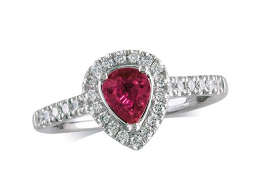 Platinum ring, with a pear cut ruby centre weighing 0.59ct, with a surrounding diamond set bezel and diamond set shoulders. Total diamond weight is 0.33ct.