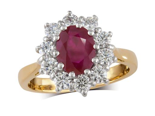 18 carat yellow gold cluster ring, with an oval cut ruby centre weighing 1.48ct, with 10 diamonds surrounding. Total diamond weight: 0.79ct.