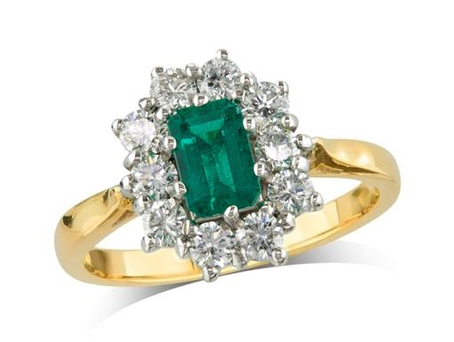 18 carat yellow gold cluster ring, with an octagonal cut emerald centre weighing 0.76ct, surrounded by 10 brilliant cut diamonds. Total cluster diamond weight: 0.82ct.
