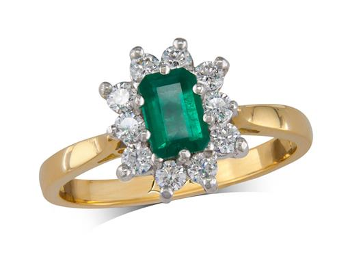 18 carat yellow gold cluster ring, with an octagonal cut emerald centre weighing 0.47ct, surrounded by 10 brilliant cut diamonds. Total cluster diamond weight: 0.37ct.